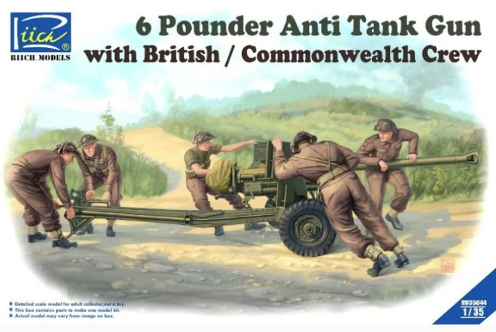 Riich Models -RV35044 6 Pounder Anti Tank Gun with British / Commonwealth  Crew