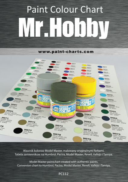 Paint Colour Chart Gunze Mr Hobby 12mm Pjb Pc112