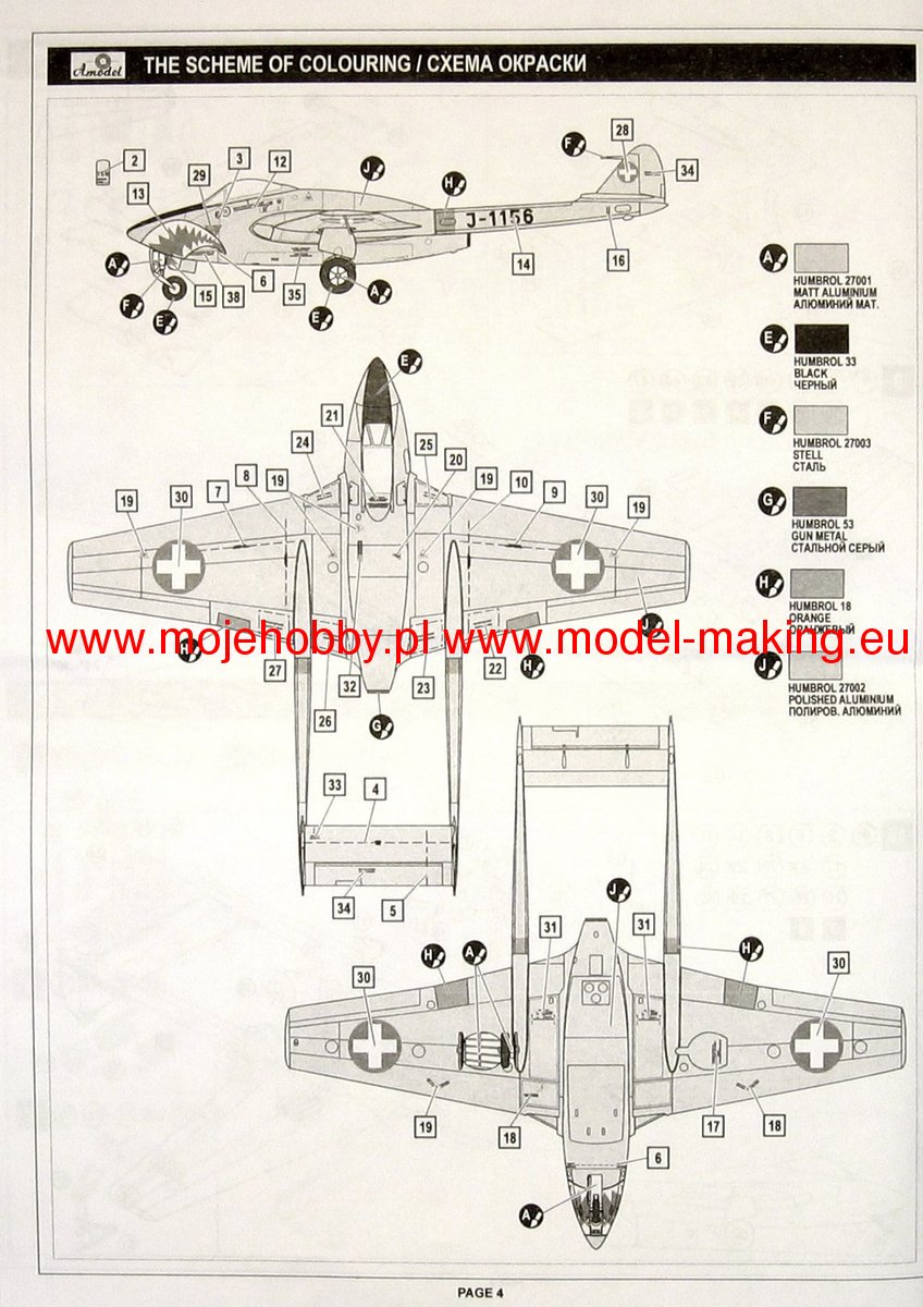 British Jet Engine Fighter De Havilland Dh100 Vampire Mkvi A Model Schematic 2 Am72208 3